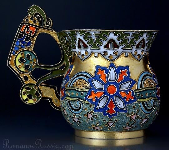 A SUPERB antique gilded silver and shaded cloisonne enamel vodka cup (charka) in the Russian Moderne style of the early 1900s by Peter Carl FABERGE, workmaster Feodor Ruckert.   The charka is in exceptional condition.  No restoration. All original