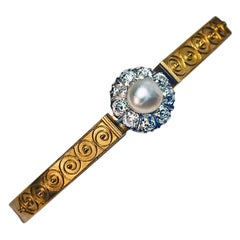 Faberge Archaeological Revival Jeweled Gold Bangle Bracelet
