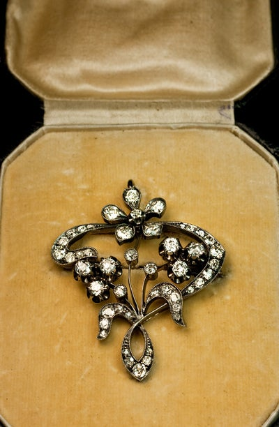 Art Nouveau Antique Russian Diamond Pendant Brooch At