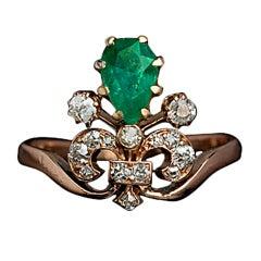 Belle Epoque Emerald Diamond Tiara Ring