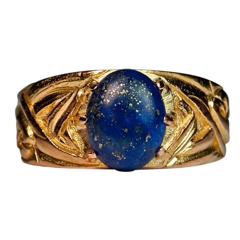 Russian Art Nouveau Gold Lapis Men's Ring 1