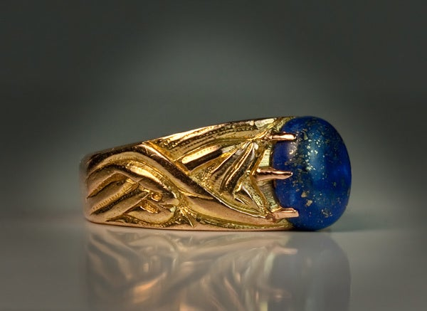 Russian Art Nouveau Gold Lapis Men's Ring 2