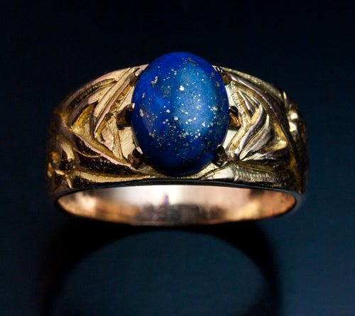 Russian Art Nouveau Gold Lapis Men's Ring 3