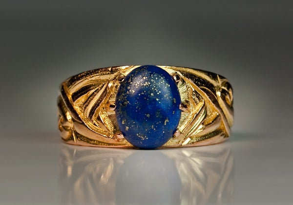 Russian Art Nouveau Gold Lapis Men's Ring 4