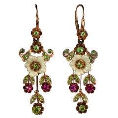 Russian Art Nouveau Enameled Demantoid Long Earrings