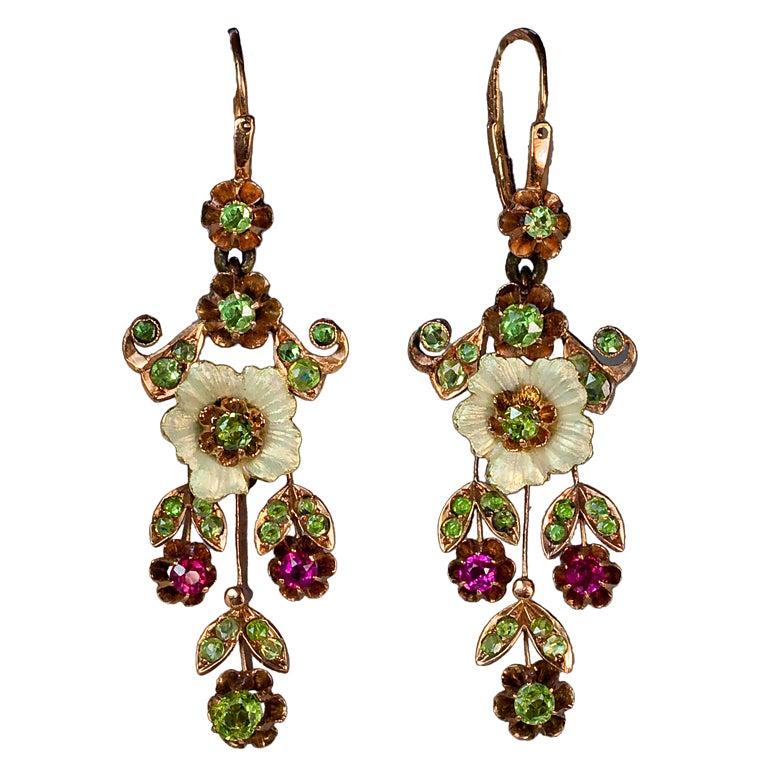 Russian Art Nouveau Enameled Demantoid Long Earrings 1