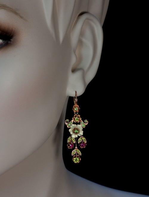 Russian Art Nouveau Enameled Demantoid Long Earrings 2
