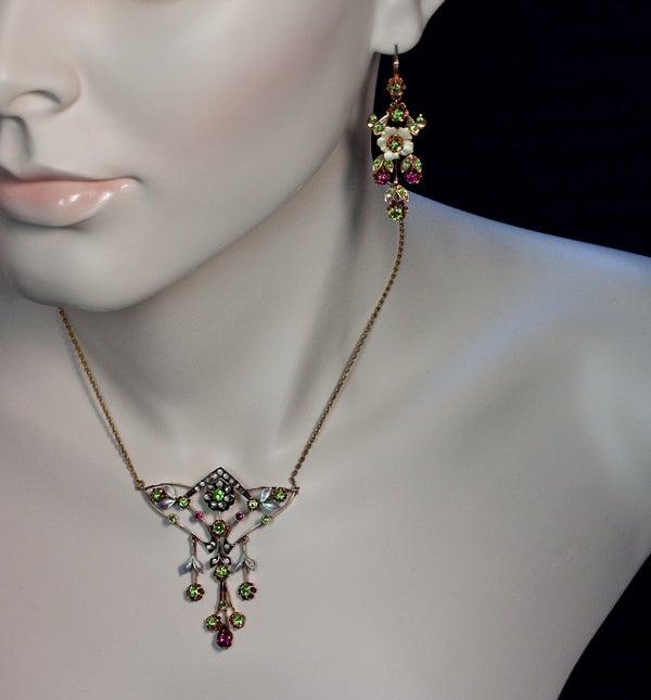 Russian Art Nouveau Enameled Demantoid Long Earrings 4