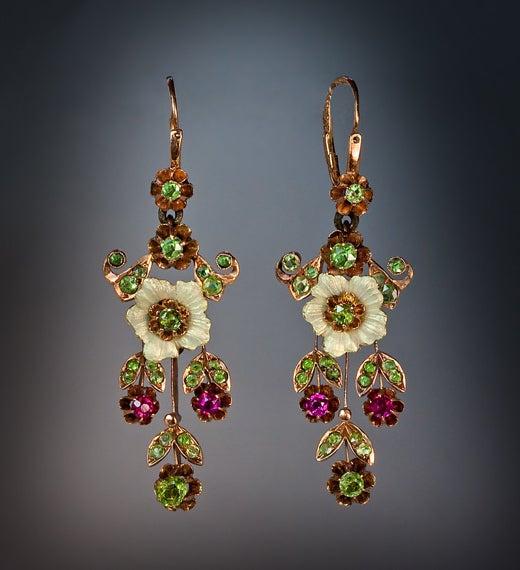 Russian Art Nouveau Enameled Demantoid Long Earrings 5