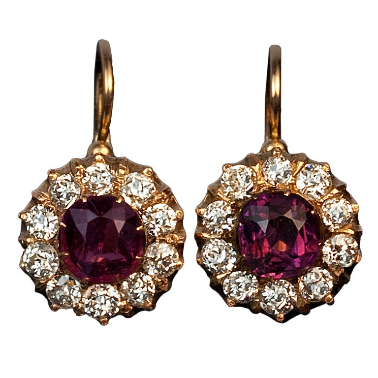 Antique Russian Spinel And Diamond Earrings At 1stdibs