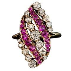 Antique Russian Belle Epoque Pink Sapphire Diamond Gold Swirl Ring