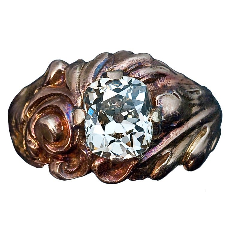 Antique Russian Art Nouveau Diamond Engagement Ring For Sale at 1stdibs