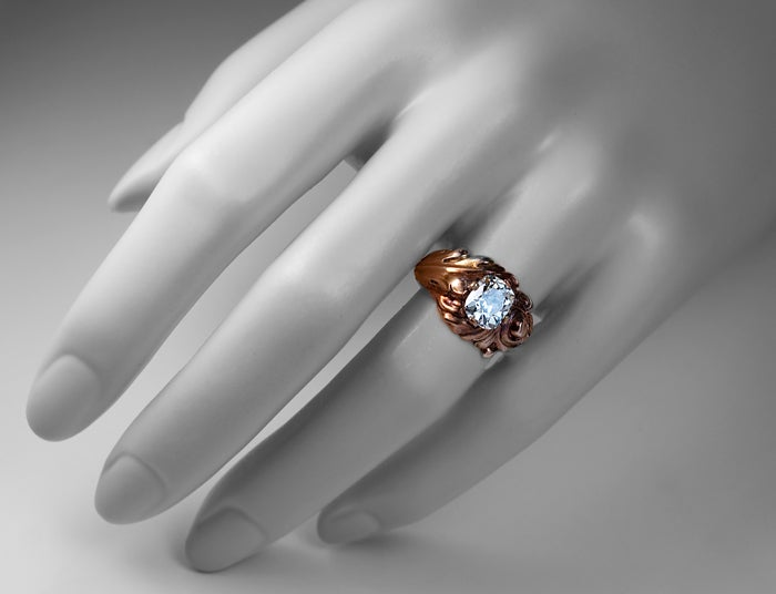 Antique Russian Art Nouveau Diamond Engagement Ring 2