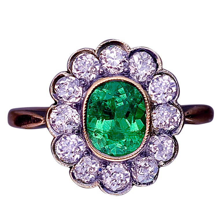 antique russian emerald and cluster ring at 1stdibs