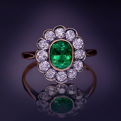 Antique Russian Emerald And Diamond Cluster Ring At 1stdibs