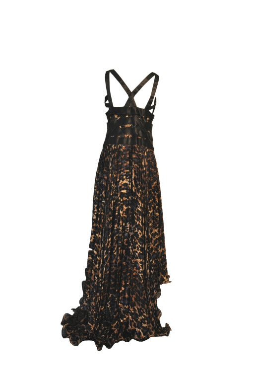 Blumarine Silk Black & Navy Leopard Print Evening gown In Excellent Condition For Sale In Hong Kong, Hong Kong
