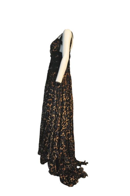 Blumarine Silk Black & Navy Leopard Print Evening gown 4