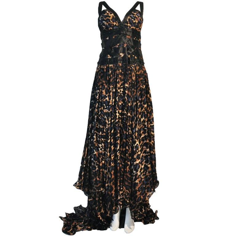 Blumarine Silk Black & Navy Leopard Print Evening gown 1