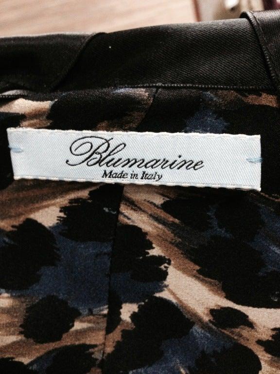 Blumarine Silk Black & Navy Leopard Print Evening gown 5