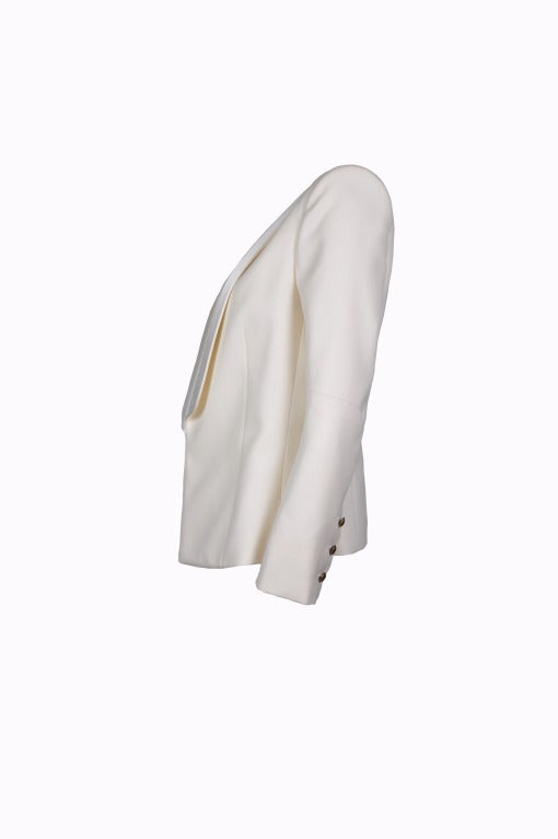 Balmain Classic Creme Wool Tuxedo Jacket New FR40 2