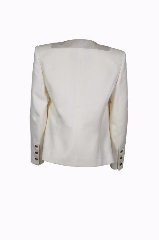 Balmain Classic Creme Wool Tuxedo Jacket New FR40 3