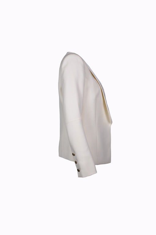 Balmain Classic Creme Wool Tuxedo Jacket New FR40 In New Never_worn Condition For Sale In Hong Kong, Hong Kong
