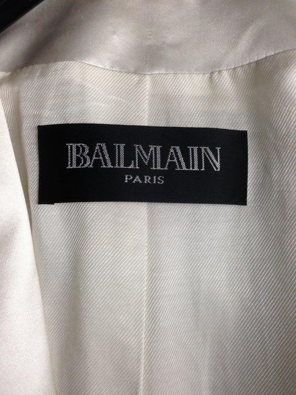 Women's Balmain Classic Creme Wool Tuxedo Jacket New FR40 For Sale