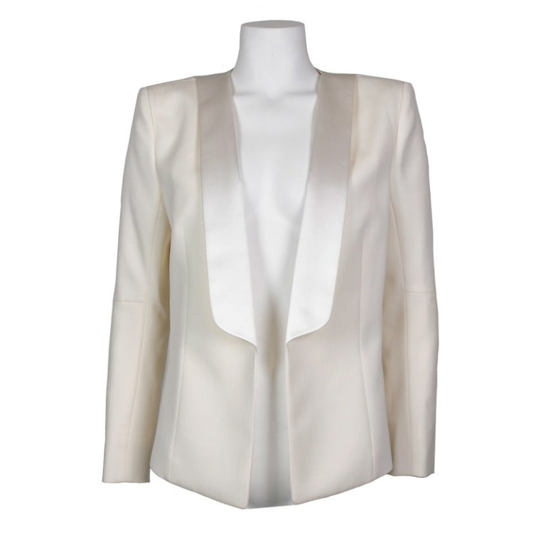 Balmain Classic Creme Wool Tuxedo Jacket New FR40 For Sale
