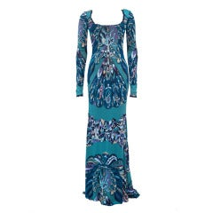 Emilio Pucci Runway Multi-color Printed Stretch Jersey Evening Gown New