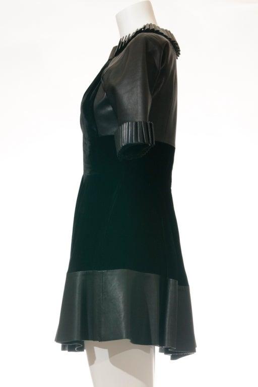 Christopher Kane dress in Black Leather & Velvet 3