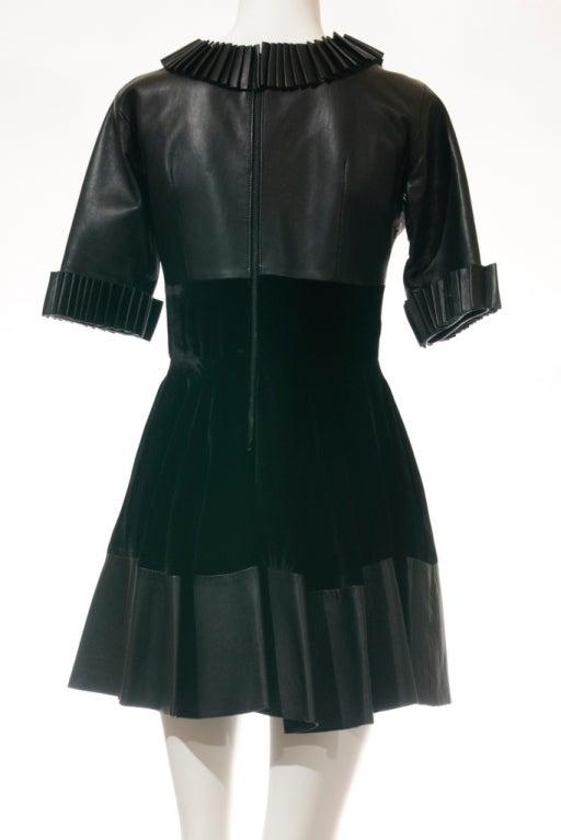 Christopher Kane dress in Black Leather & Velvet 4