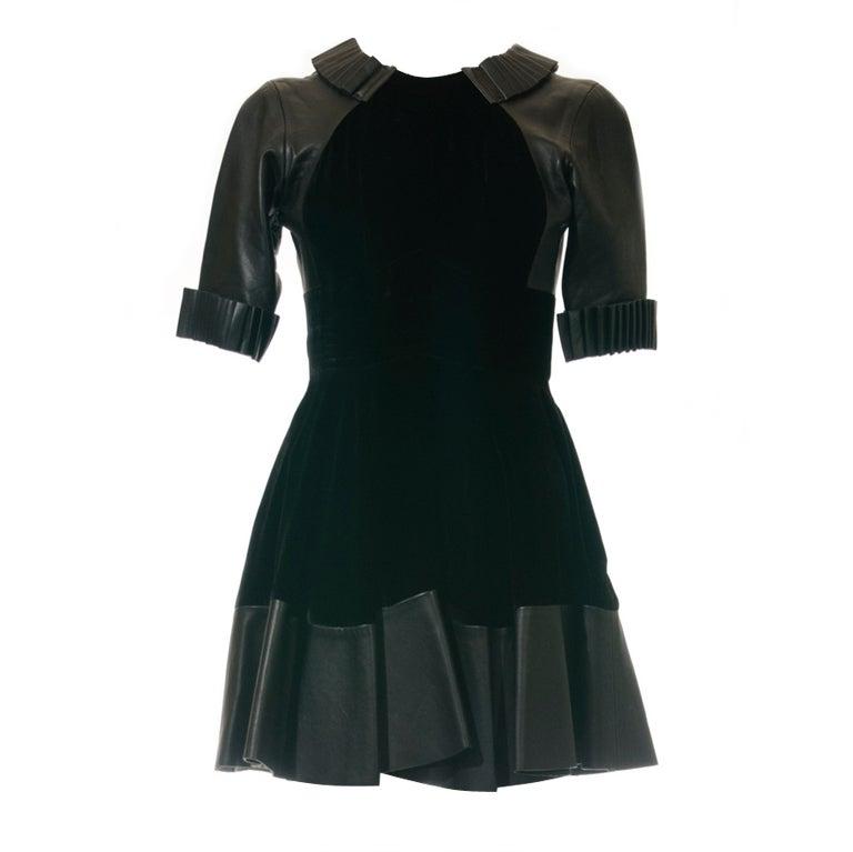 Christopher Kane dress in Black Leather & Velvet 1