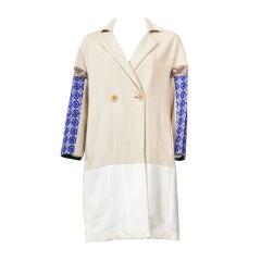 Etro Patchwork Jacquard Cotton Blend Coat New