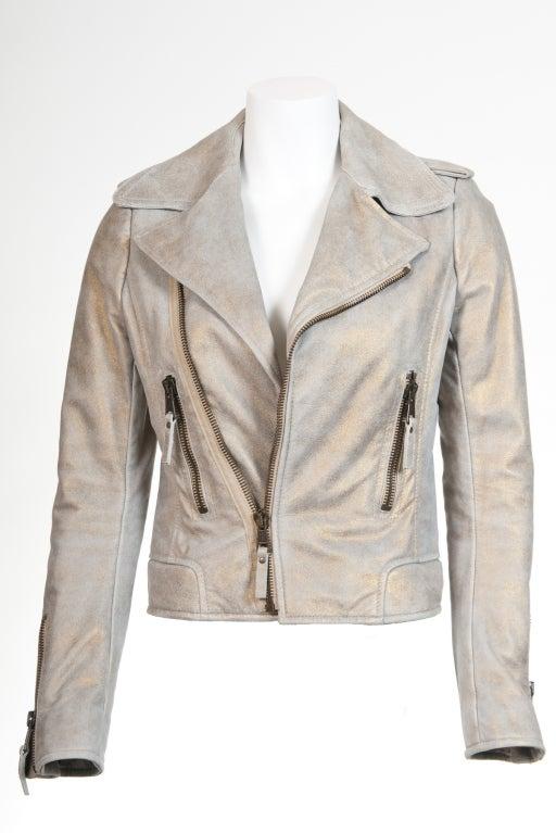 Balenciaga Gold & Beige Motocycle Leather Jacket New 2