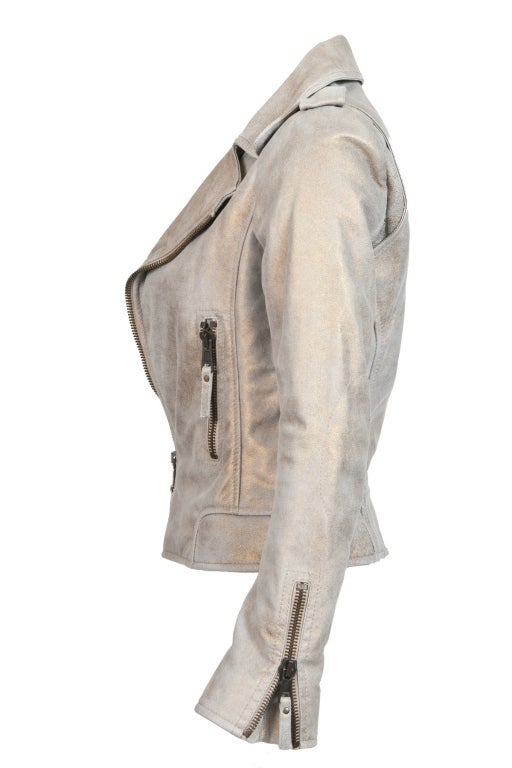 Gray Balenciaga Gold & Beige Motocycle Leather Jacket New For Sale