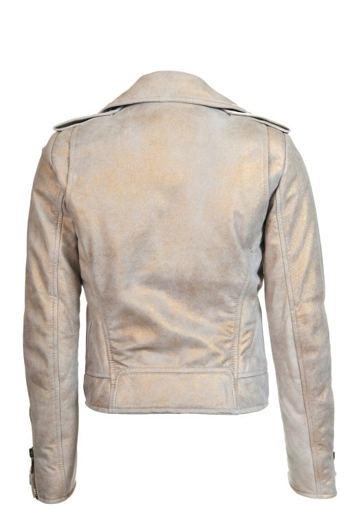 Balenciaga Gold & Beige Motocycle Leather Jacket New In New Never_worn Condition For Sale In Hong Kong, Hong Kong