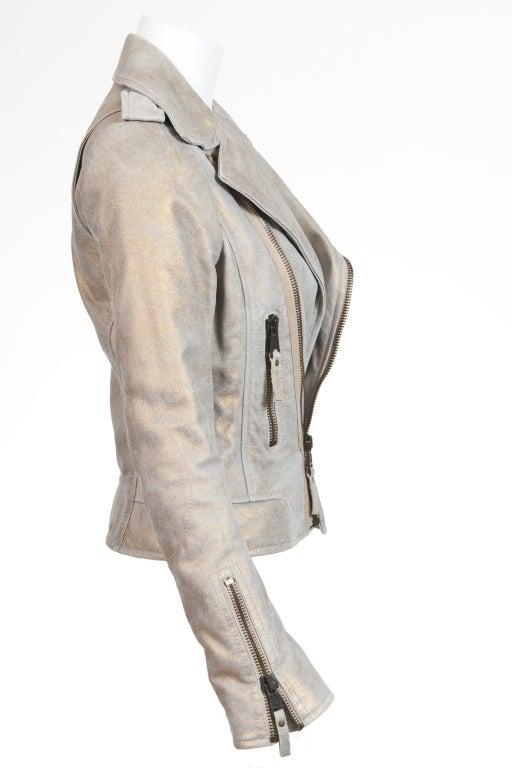 Balenciaga Gold & Beige Motocycle Leather Jacket New 5