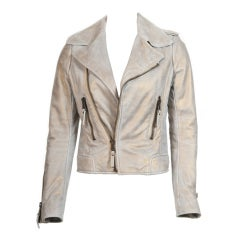 Balenciaga Gold & Beige Motocycle Leather Jacket New