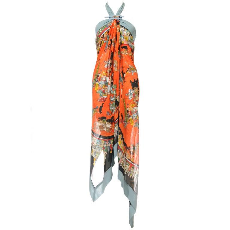 Hermes Cirque Molier Scraf Print Halter Dress 1