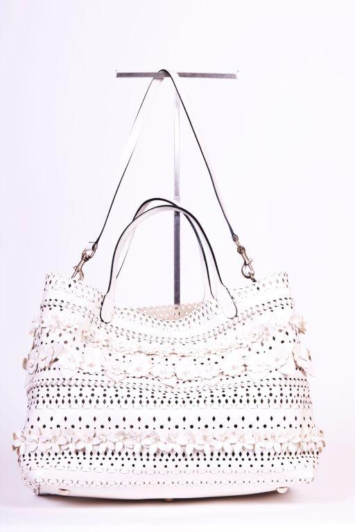 Valentio Garavani White Flower Leather Tote Bag 2