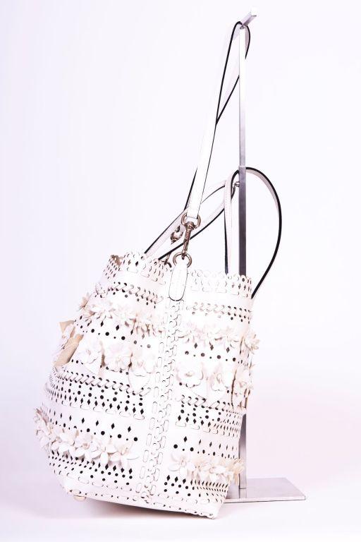 Valentio Garavani White Flower Leather Tote Bag 3