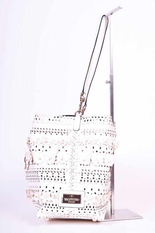 Valentio Garavani White Flower Leather Tote Bag 5