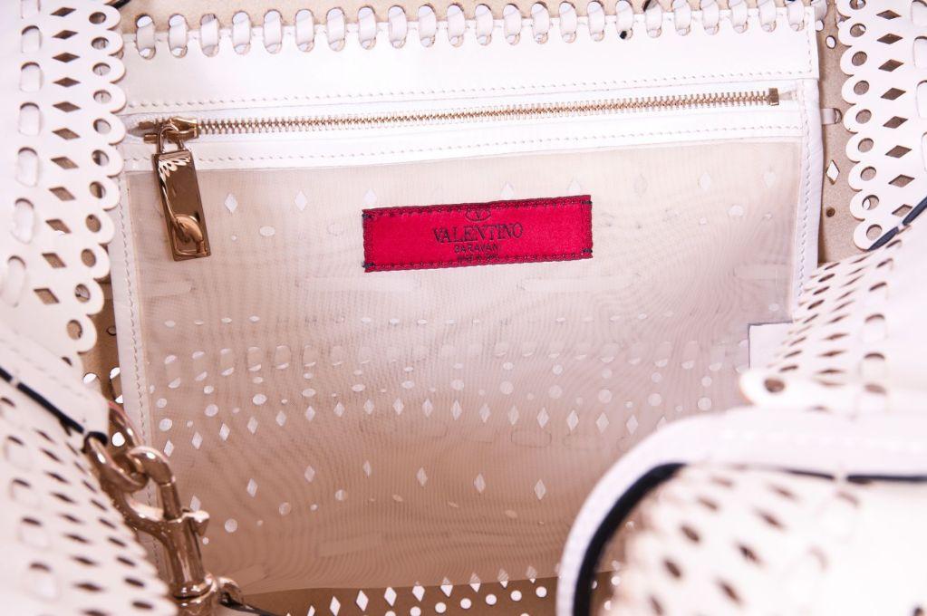 Valentio Garavani White Flower Leather Tote Bag 6