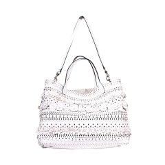 Valentio Garavani White Flower Leather Tote Bag