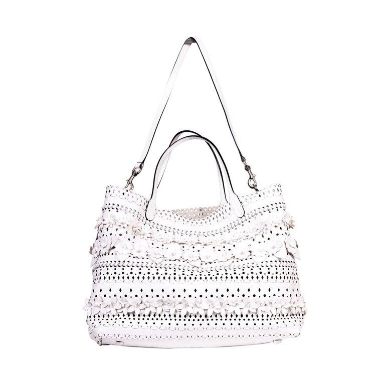 Valentio Garavani White Flower Leather Tote Bag 1