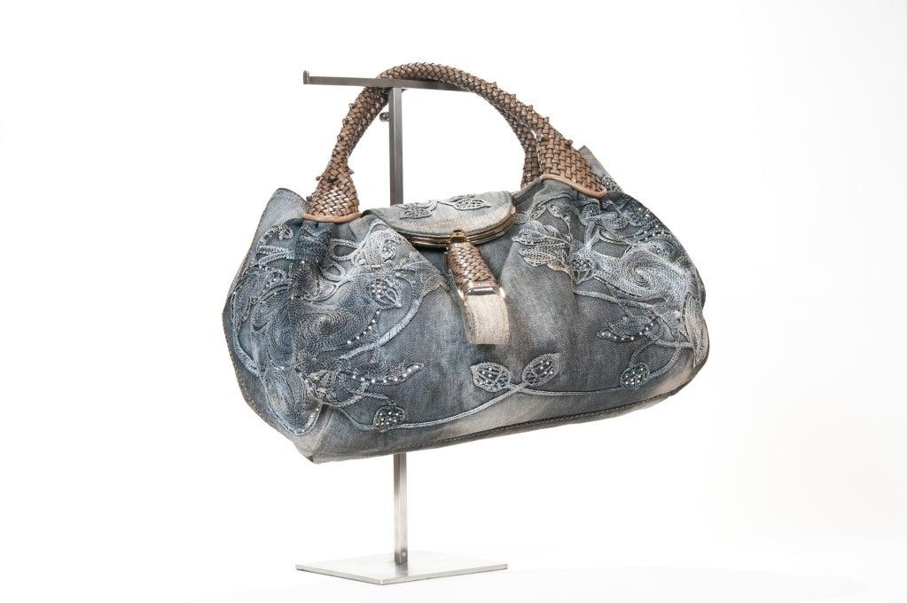 Fendi  Embroidered Denim Spy Bag 2