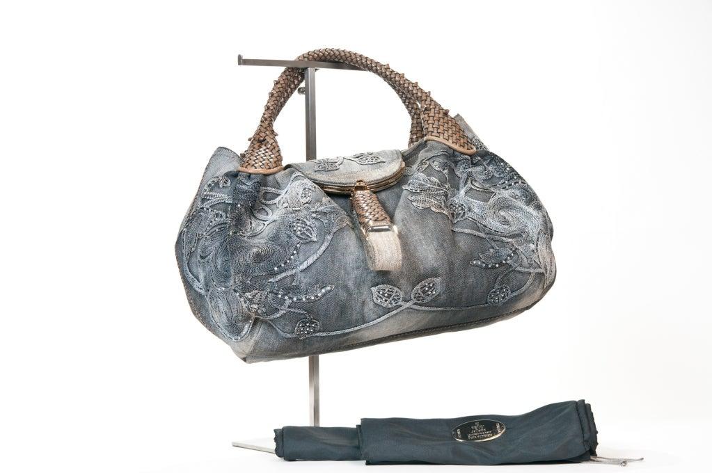 Fendi  Embroidered Denim Spy Bag 3
