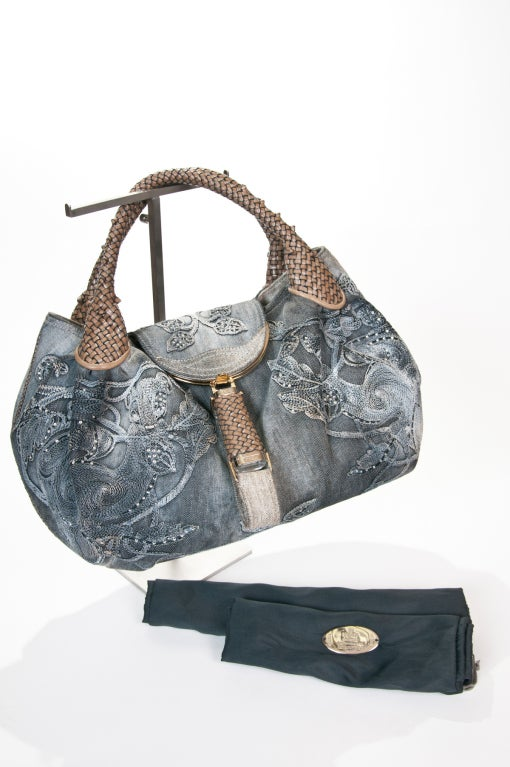 Fendi  Embroidered Denim Spy Bag 4
