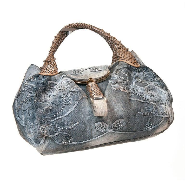 Fendi  Embroidered Denim Spy Bag 1