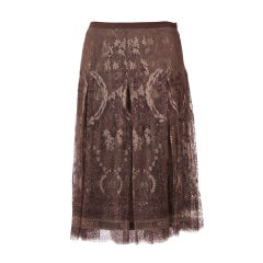 Hermes Logo  Embossed Taupe Lace Skirt New